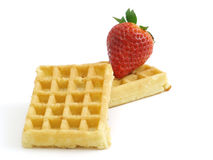 Wafer with strawberry Royalty Free Stock Images