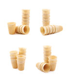 Wafer style waffle cone isolated Stock Photos