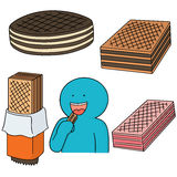 Wafer. Vector set of wafer cartoon Stock Images