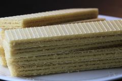 Wafer. Biscuit on the white plate Stock Photo
