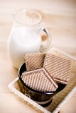 Wafers. With cacao cream and nuts Stock Photography