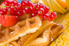 Wafers with berries Royalty Free Stock Images