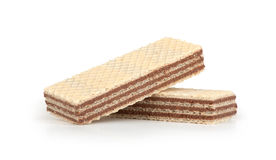 Wafers with chocolate. Isolated on white background Royalty Free Stock Image