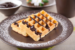 Wafers with chocolate sauce Royalty Free Stock Image