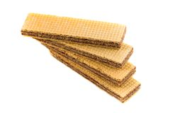 Wafers with chocolate on a white Royalty Free Stock Photography
