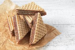 Wafers with chocolate Stock Photo