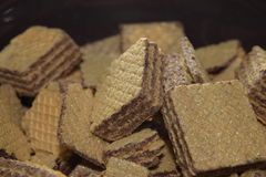 Wafers. Close-up delicious wafers in a brown bowl Stock Photo