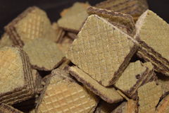 Wafers. Close-up delicious wafers in a brown bowl Stock Photography