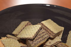 Wafers. Close-up delicious wafers in a brown bowl Royalty Free Stock Images