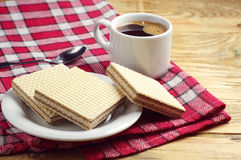 Wafers and coffee Royalty Free Stock Image
