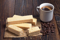 Wafers and coffee Royalty Free Stock Photo
