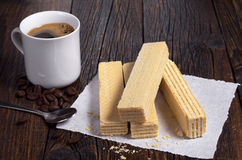 Wafers and coffee Stock Photography
