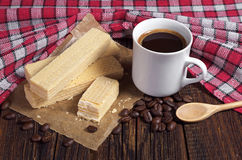 Wafers and coffee Royalty Free Stock Images