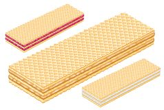 Strawberry hazelnut wafer. Wafers food chocolate white amount strawberry vanilla hazelnut stock images
