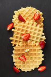 Wafers with fresh strawberries Stock Images