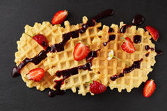 Wafers with fresh strawberries Stock Photos