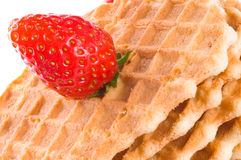 Wafers with fresh strawberry Stock Images