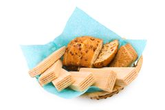 Wafers, a fruitcake and cookies Royalty Free Stock Image
