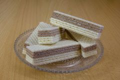 Wafers on a glass saucer Royalty Free Stock Photo