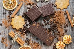 Wafers In Chocolate With Biscuits On A Wooden Surface, Top View. Royalty Free Stock Photo