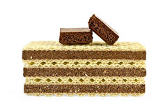 Wafers a stack with chocolate Stock Image