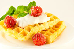 Wafers with a strawberry, cream and mint Stock Images