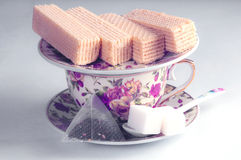 Wafers and tea Royalty Free Stock Photo