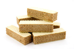 Wafers on a white background stock photos