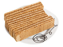 Wafers on a white plate Stock Photography