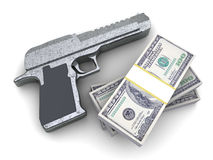 Waffe und Geld Lizenzfreie Stockbilder