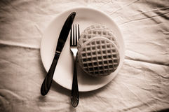 Waffel on plate Royalty Free Stock Images