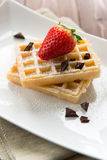 Waffel with strawberry and chocolate Royalty Free Stock Photography