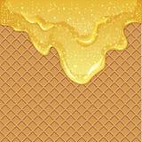 Waffelhintergrund mit Honig Lizenzfreies Stockfoto