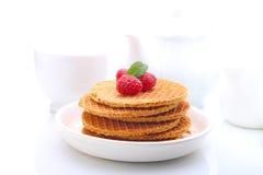 Waffeln mit Schokolade und Himbeeren, Trauben, Tee und Orangensaft lizenzfreies stockfoto