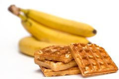 Waffeln und Bananen Stockfoto