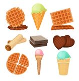 Waffels desserts. Set of vector pictures isolate. Dessert waffle food with cream chocolate, sweet cookie illustration Royalty Free Stock Images