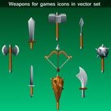 Waffen für Spielikonen-Vektorsatz Stockbilder