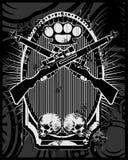 Waffen-, Gewehr-, Knöchel- und Schädelvektor vektor abbildung
