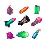 Waffen-und Bomben-Ikonen-Vektor-Illustrations-Satz lizenzfreie abbildung