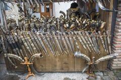 Waffen und Schalen, verziert mit Silber, Kakheti, Georgia Lizenzfreies Stockbild