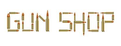 Waffengeschäft mit Kugel auf weißem Hintergrund Lizenzfreie Stockfotos