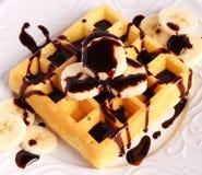 waffle Банан-шоколада Стоковая Фотография RF