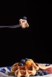 Waffle и мед Стоковая Фотография