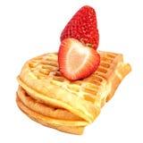 Waffle клубники на белизне Стоковые Фото