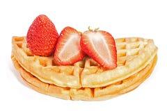 Waffle клубники на белизне Стоковая Фотография RF