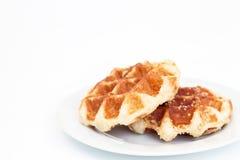 Waffle на тарелке Стоковые Фотографии RF