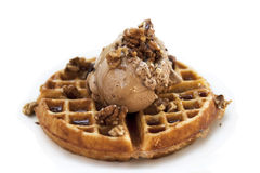 Waffle. With chocolate, walnuts and syrup Royalty Free Stock Photography