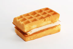 Waffle. A waffle sandwich with cream stock image