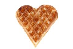 Waffle. Baked heart waffle isolated on white background Stock Photos