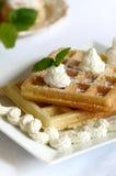 Waffle. Freshl homemade waffle with cream Stock Images
